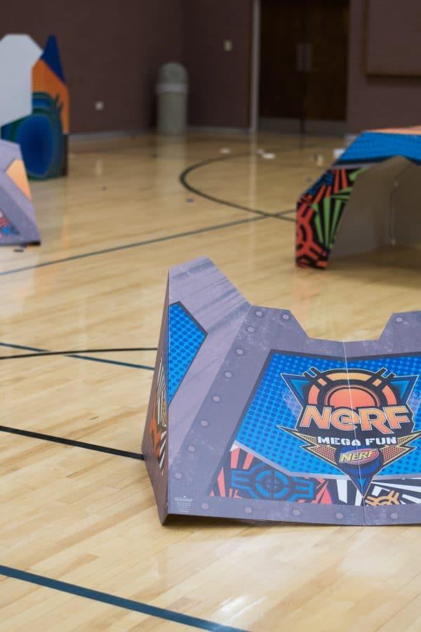 Nerf shields in a gym