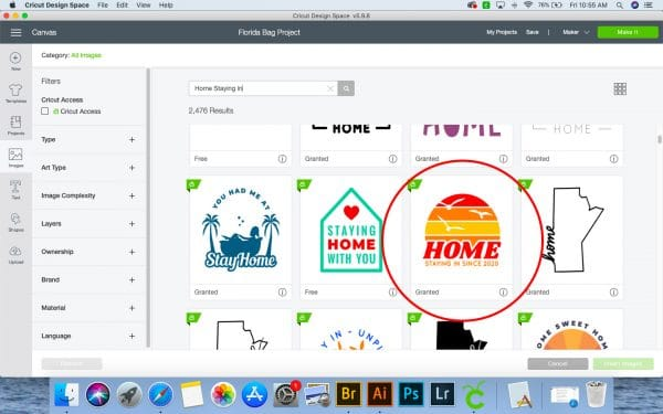 screenshot of design space with an image circled