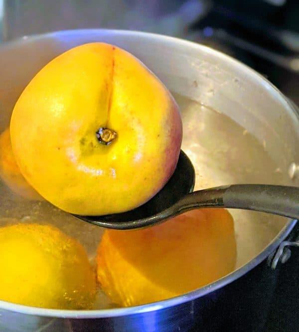 peach with a spoon