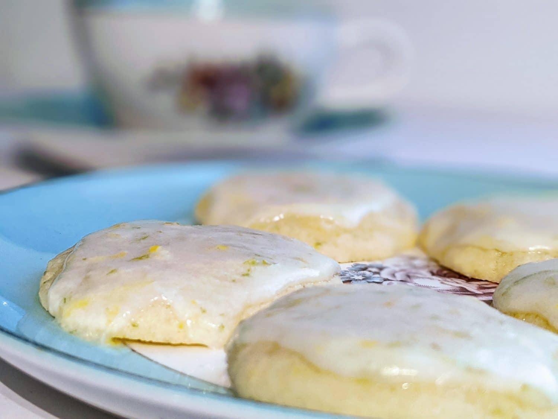 lemon lime cookie on a plate