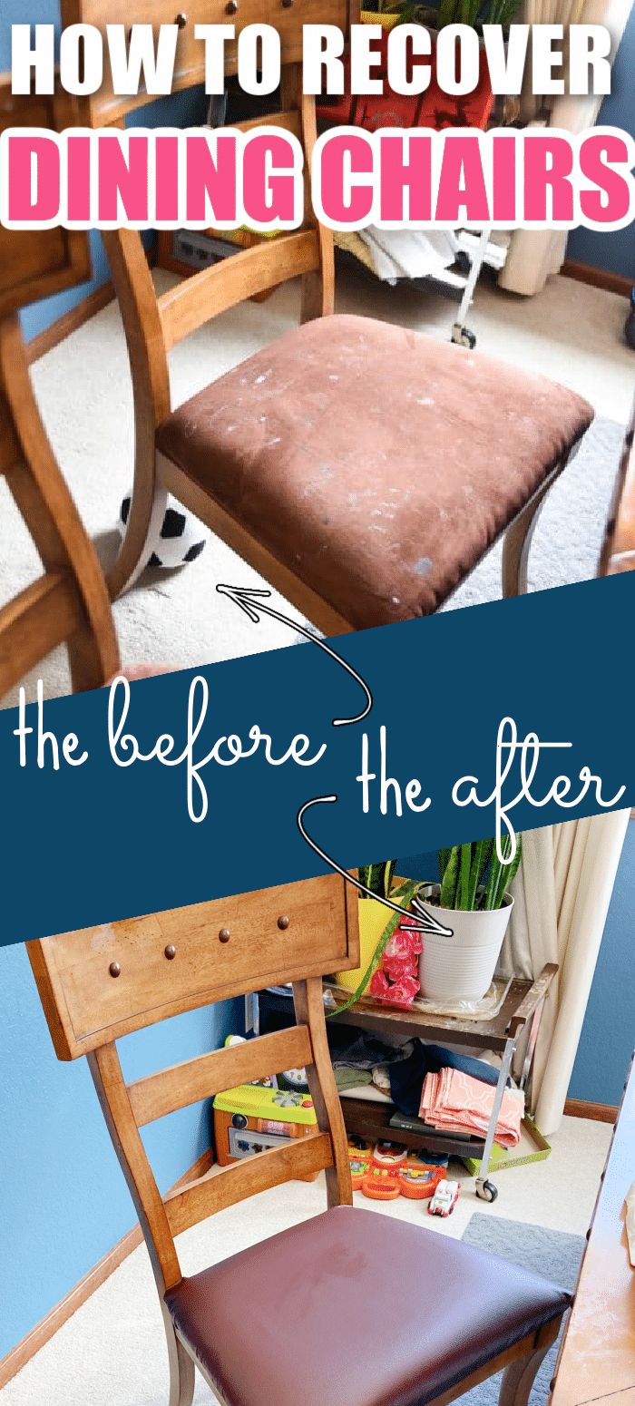 Recovering your dining room chairs can really transform your dining room and add years of life to your chairs. This tutorial shares simple tips for reupholstering your dining chairs in no time - and on a budget! via @clarkscondensed