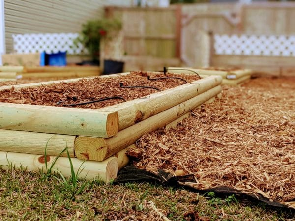 For this garden, because there are multiple beds in a row and it takes up a large portion of the lawn, we just laid down garden fabric to keep the grass from becoming a nuisance.