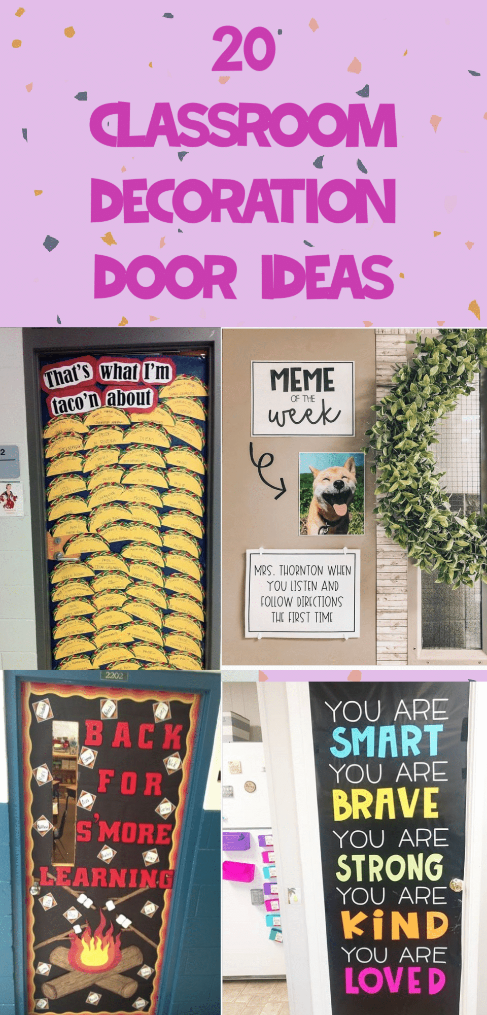 Welcome your students back to school with a fun and inviting decorated door! They will love to walk into your classroom when your door is decorated just for them. We are sharing 20 of the best classroom door ideas to help you get started! via @clarkscondensed