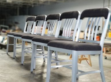 Restored Goodform Aluminum Chairs | Church Pew Dining Set