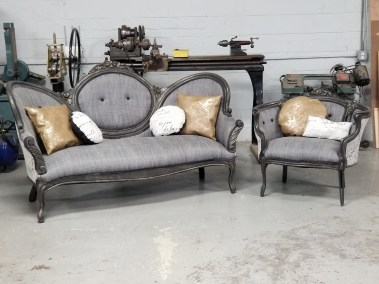 Custom Upholstered / Refinished Antique Settee and Chair Set   Ruby