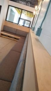 Booth Banquette Seats Wood Detail | Color & Ink | with 5/8 Architecture