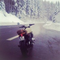 Winter Snow Covered Mountains Motorcycle