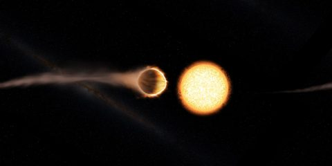 This artist's concept shows hot Jupiter WASP-121b, which presents the best evidence yet of a stratosphere on an exoplanet. (Engine House VFX, At-Bristol Science Centre, University of Exeter)
