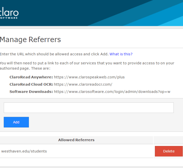 Manage referrers - one referring URL