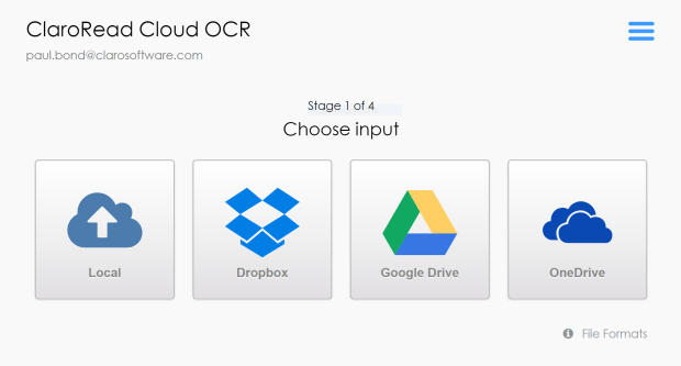 Input screen, showing buttons to choose input - local file, Dropbox, Google Drive, OneDrive