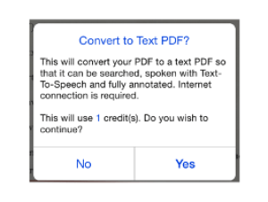 Convert to Text PDF prompt
