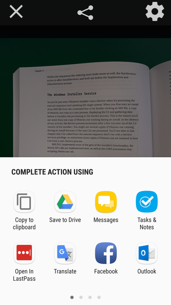 Share action pop-up on an Android phone