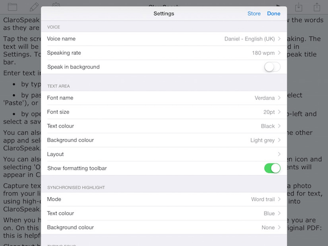 ClaroSpeak Settings