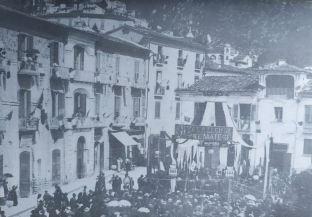 Piazza Roma. Il 26 settembre 1909 il Comune di Piedimonte riceve la bandiera della legione del Matese