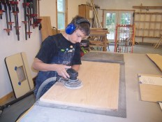 Carson working on His student desk