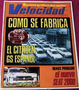 EL CITROËN GS EN LA REVISTA GRÁFICA DEL MOTOR VELOCIDAD.
