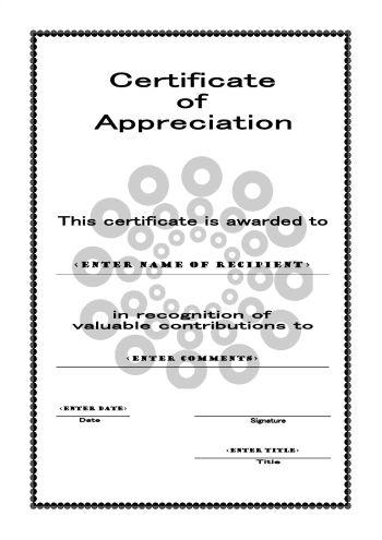 Certificates of Appreciation 105