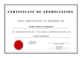 Certificates of Appreciation 103