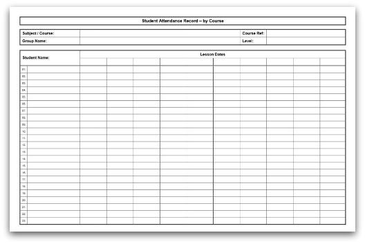 attendance register template word
