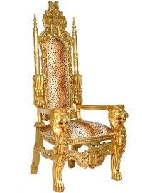 THRONE CHAIR 180cm GOLD MAHOGANY PRINCE ARMCHAIR KINGCHAIR