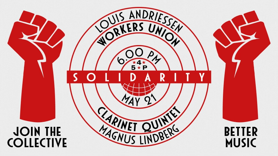 Mid-century style workers union poster image.