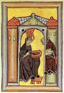 St. Hildegard receiving a vision (Rupertsberger Codex des Liber Scivias / Wikipedia)