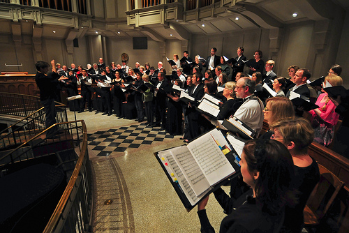 Seattle Pro Musica rehearses at St. James Cathedral (Photo: Seattle Pro Musica)