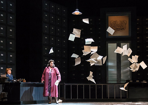 "Sarah Larsen (the Secretary) and Marcy Stonikas (Magda Sorel) in Menotti's ""The Consul"""