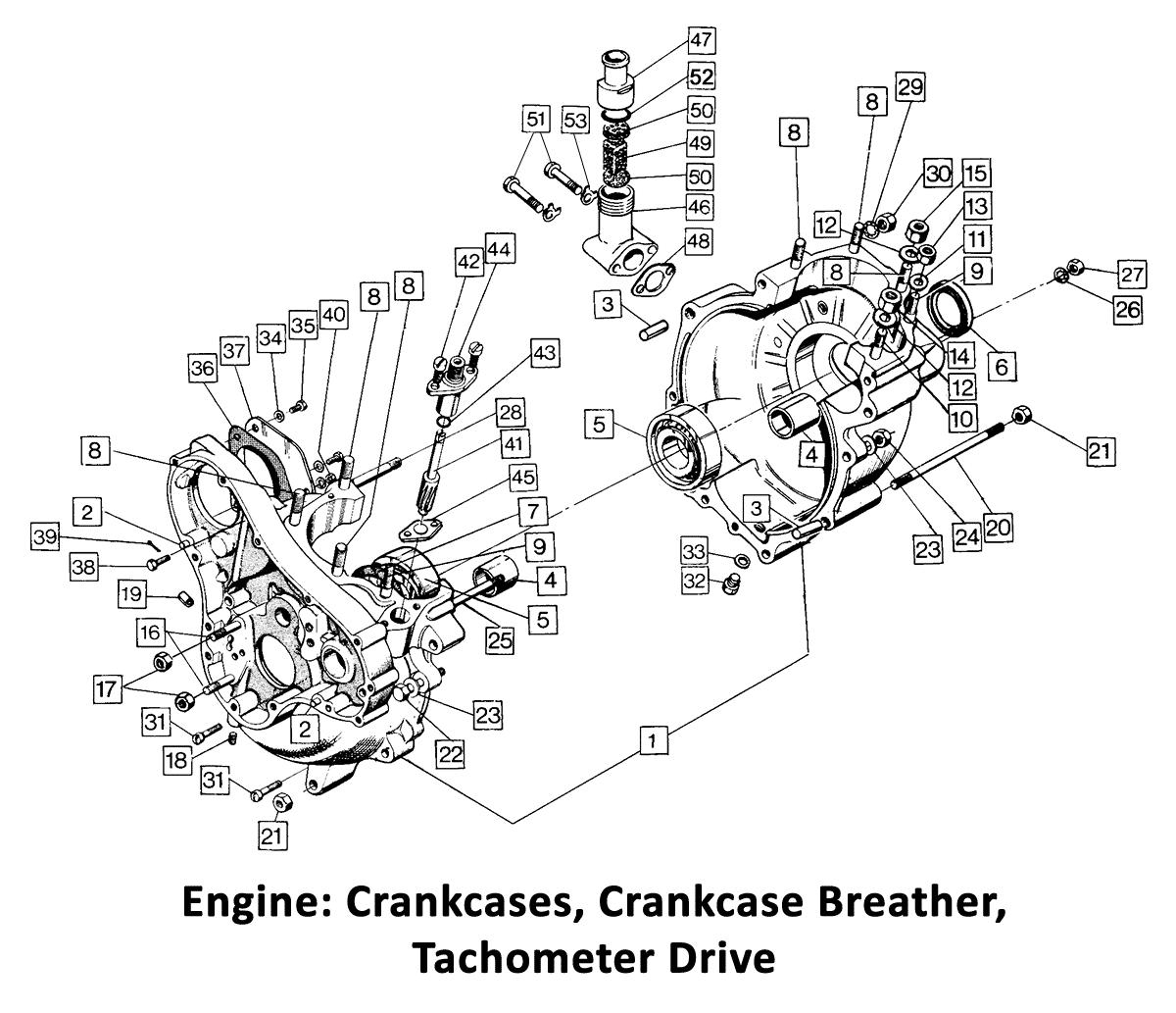 1972 Norton Commando Crankcases, Breather, Tacho Drive
