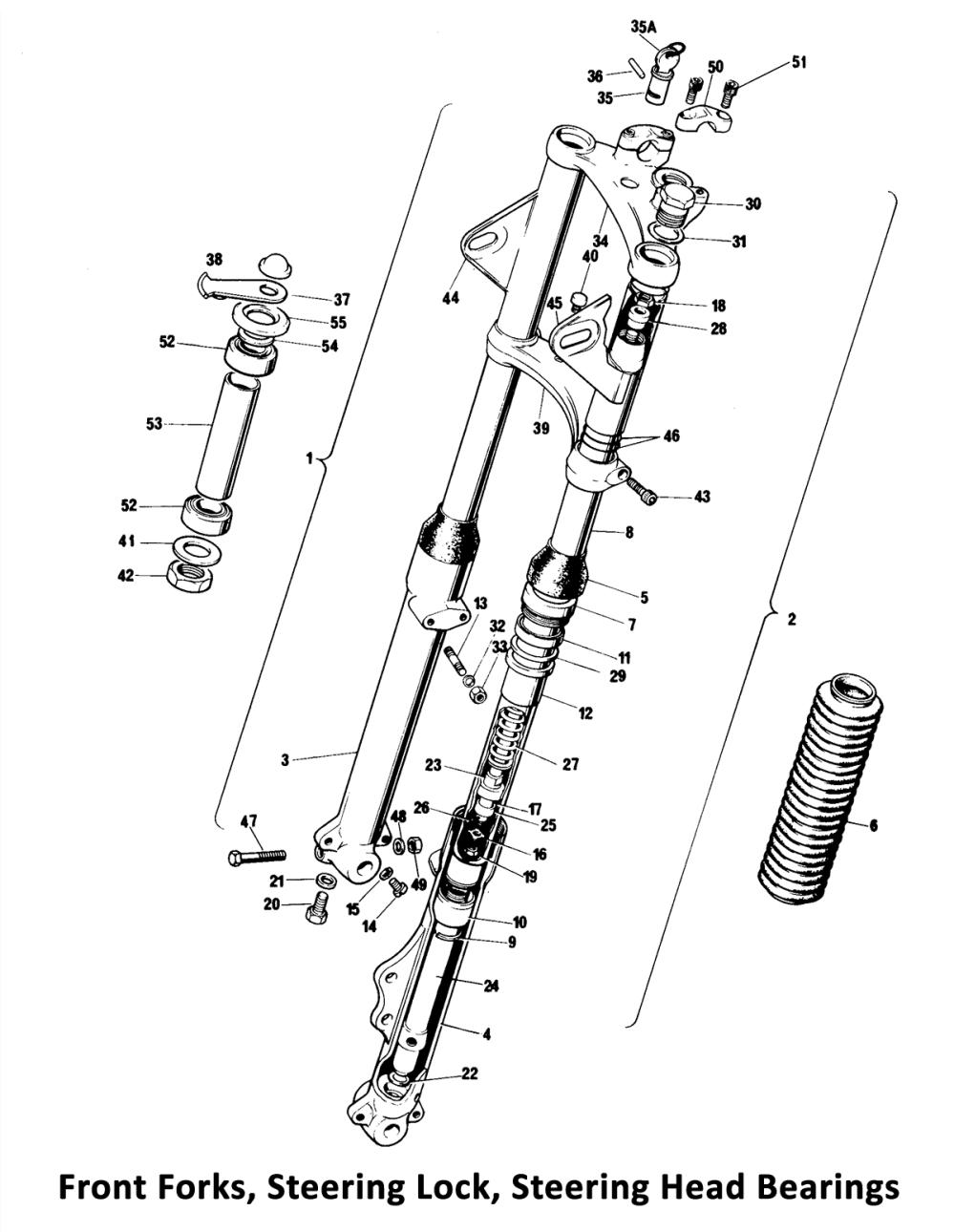 medium resolution of 1975 norton commando mk3 front forks steering head bearings wire diagram 1975