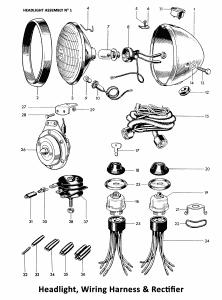 1964 Triumph 650 Twins Headlight, Wiring Harness, Horn