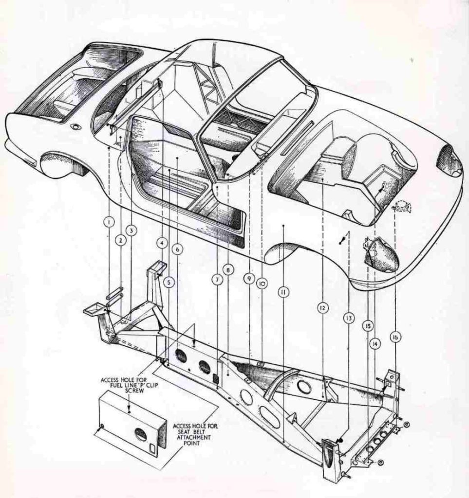 A Lotus Elan chassis, shown here in an exploded diagram