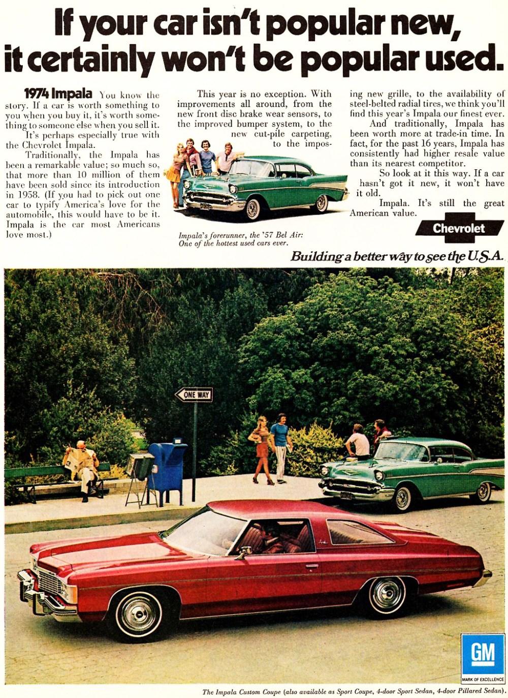 medium resolution of 1974 chevrolet impala custom coupe ad