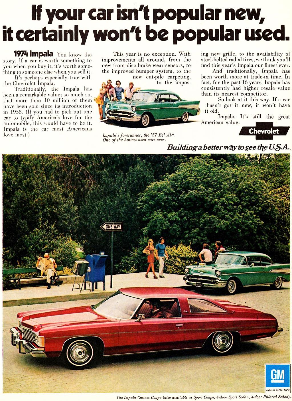 hight resolution of 1974 chevrolet impala custom coupe ad