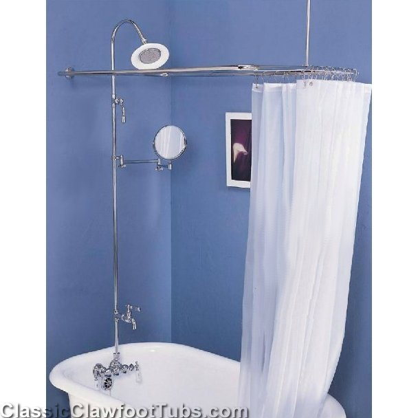 Clawfoot Tub Wall Mount Shower Enclosure Combo W Leg Tub
