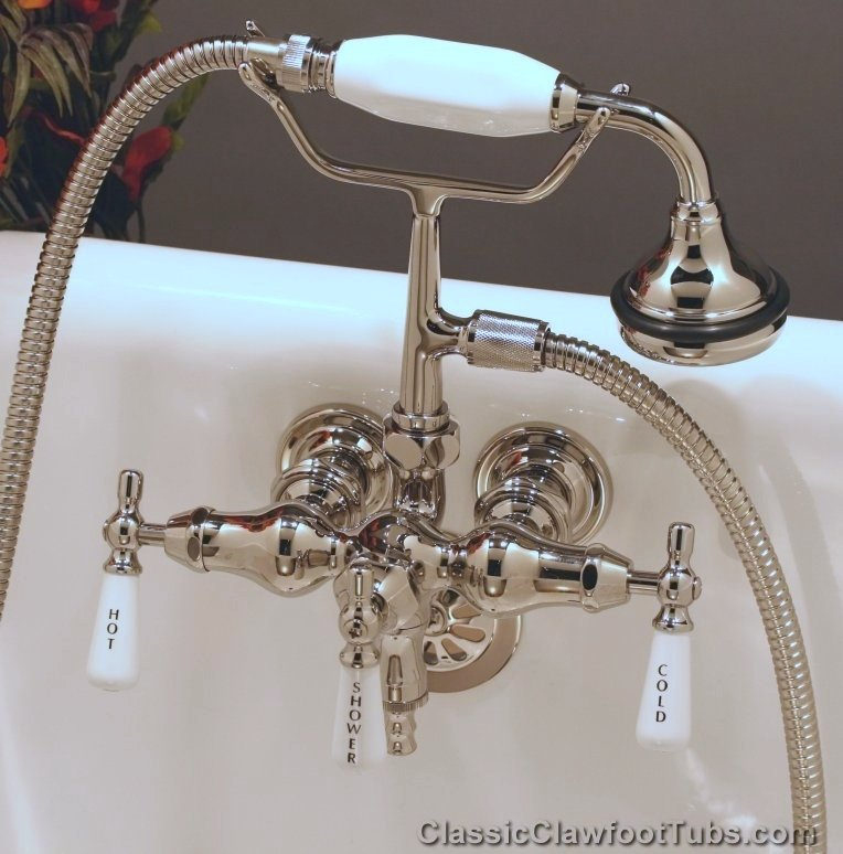 Clawfoot Tub Small Spout Faucet W Hand Held Shower Classic Clawfoot Tub