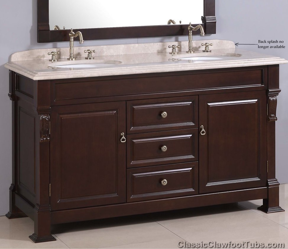 60 Traditional Double Sink Vanity Combo Classic Clawfoot Tub
