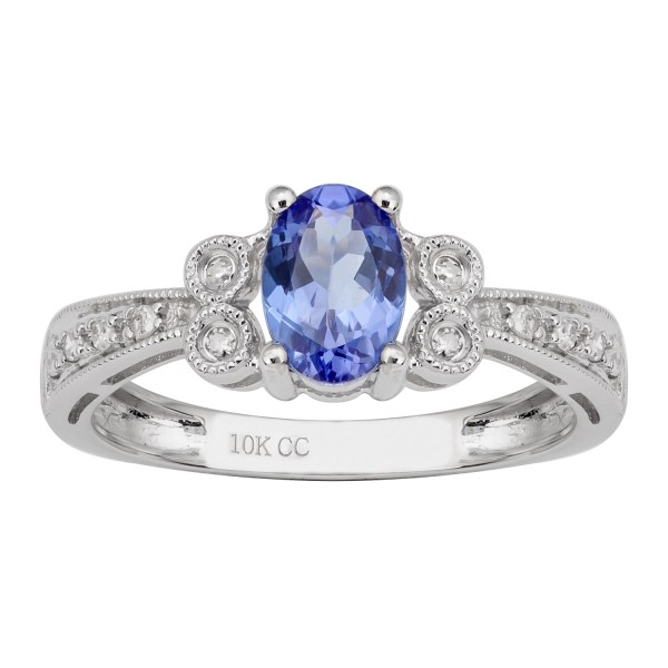 10k White Gold Vintage Style Oval Tanzanite And Diamond Ring