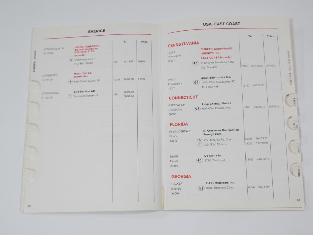 Ferrari 1977 Dealer Directory Manual Handbook 308 400