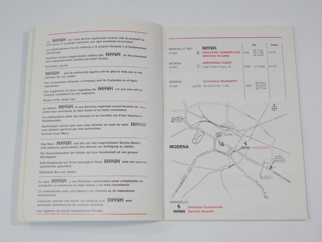 Ferrari 1977 Dealer Directory Manual Handbook 308 400
