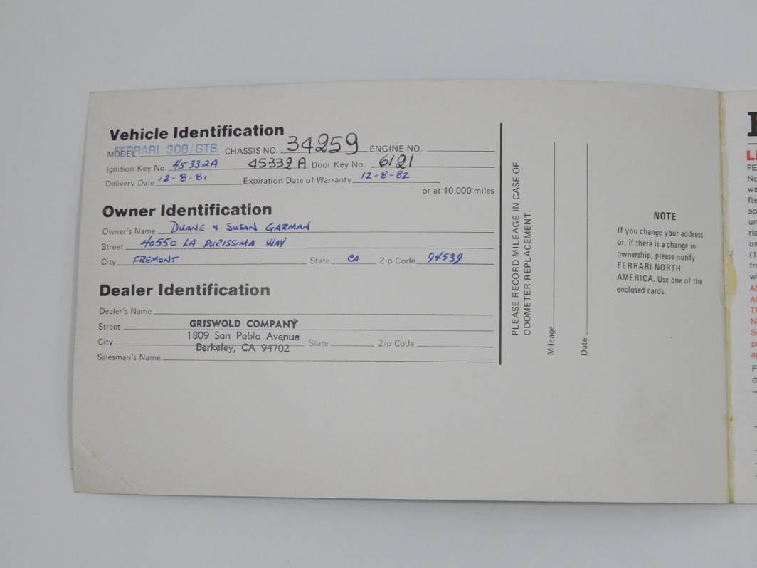 1980 Ferrari 308 Warranty Service Manual Card #34259