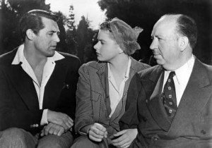 Cary Grant Ingrid Bergman with Hitchcock while filming Notorious