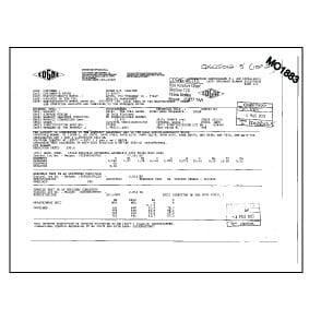 Mill certificate for steel sample