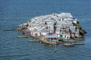 Migingo Island covers less than half a football pitch but over 500 people live on this tiny African fishing island. Jeroen van Loon/Al Jazeera