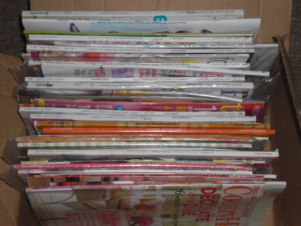Can you believe I had that many magazines!? Most of them are unread, not because I didn't want to, but because they got buried soon after I received them.