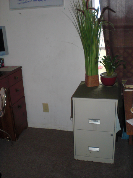 In the living room, easily accessible, purged and organized inside, double duty as end table.