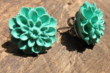 teal-flower-earrings