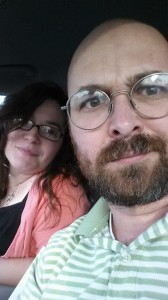 My husband and I arriving at the theater.  My husband likes to make faces for the camera instead of smiling....