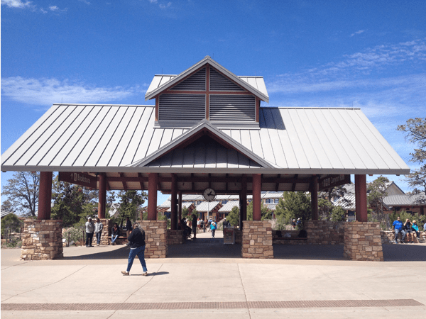 "This is the main ""hub"" of the Visitor's Center area. On the other side of this pavilion is the Visitor's Center, to the left is the Bookstore, and where I'm standing is the shuttle stop where buses take you to and from the various parking areas and viewpoints."