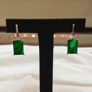 vivid green jade earrings